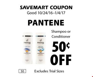 50¢ Off Pantene Shampoo or Conditioner. SAVEMART COUPON. Good 10/24/16-1/4/17