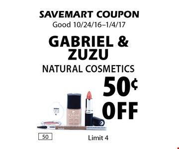 50¢ Off Gabriel & ZuZu Natural Cosmetics. SAVEMART COUPON. Good 10/24/16-1/4/17.