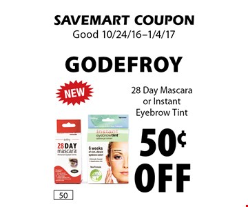50¢ off Godefroy. 28 Day Mascara or Instant Eyebrow Tint. SAVEMART COUPON. Good 10/24/16-1/4/17.