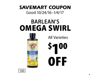 $1.00 Off Barlean's Omega Swirl All Varieties. SAVEMART COUPON. Good 10/24/16-1/4/17.