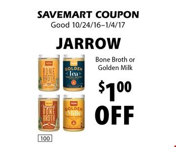 $1.00 off Jarrow Bone Broth or Golden Milk. SAVEMART COUPON. Good 10/24/16-1/4/17