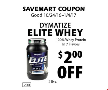 $2.00 Off Dymatize Elite Whey. 100% Whey ProteinIn 7 Flavors. SAVEMART COUPON. Good 10/24/16-1/4/17