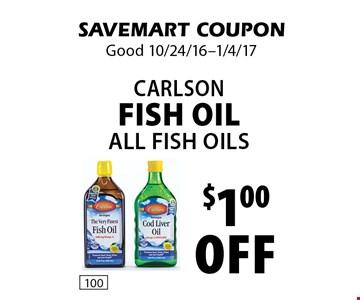 $1.00 off Carlson Fish Oil. All Fish Oils . SAVEMART COUPON. Good 10/24/16-1/4/17.