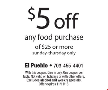 $5 off any food purchase of $25 or more sunday-thursday only. With this coupon. Dine in only. One coupon per table. Not valid on holidays or with other offers. Excludes alcohol and weekly specials. Offer expires 11/11/16.