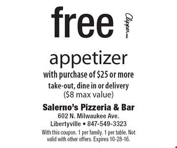 free appetizer with purchase of $25 or more take-out, dine in or delivery($8 max value). With this coupon. 1 per family. 1 per table. Not valid with other offers. Expires 10-28-16.