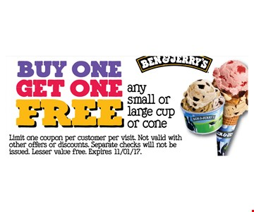 Buy one get one free, any small or large cup or cone