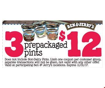 3 prepackaged pints $12
