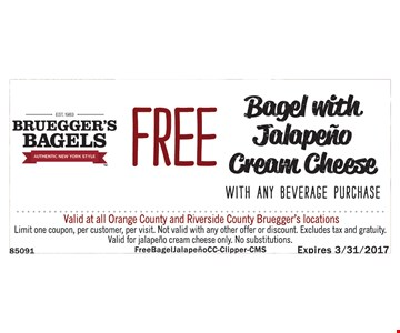 Free Bagel with Jalapeno Cream Cheese with Any Beverage Purchase