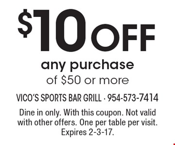 $10 Off any purchase of $50 or more. Dine in only. With this coupon. Not valid with other offers. One per table per visit. Expires 2-3-17.