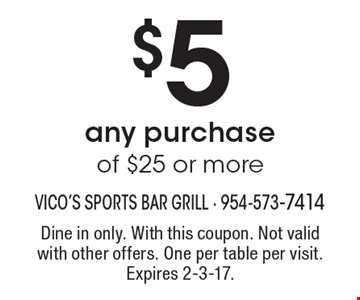 $5 Off any purchase of $25 or more. Dine in only. With this coupon. Not valid with other offers. One per table per visit. Expires 2-3-17.