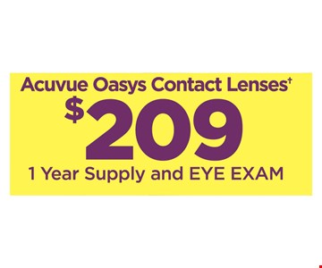 1 Year Supply Of Acuvue Oasys Contact Lenses And Eye Exam for $209