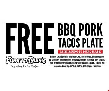 Free BBQ Pork Tacos Plate