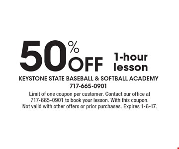 50% Off 1-hour lesson. Limit of one coupon per customer. Contact our office at 717-665-0901 to book your lesson. With this coupon. Not valid with other offers or prior purchases. Expires 1-6-17.