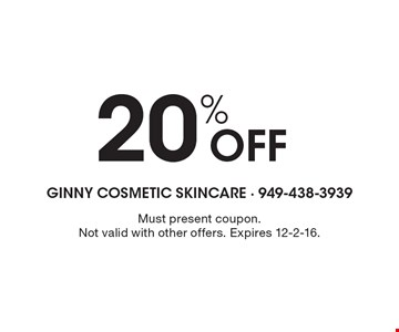 20% Off. Must present coupon. Not valid with other offers. Expires 12-2-16.