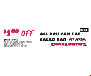 $1 off all you can eat salad bar.