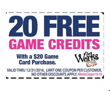 20 free game credits with a $20 game card purchase. Valid ID required. Valid through 12/31/16. Limit one coupon per customer. No other discounts apply.