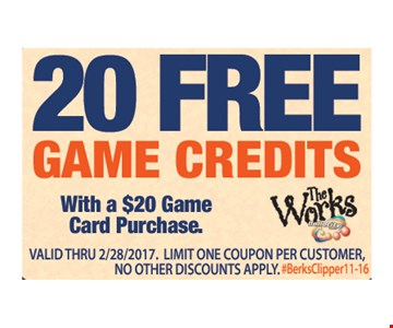 Free 20 game credits with a $20 game card purchase. Expires 2/28/17
