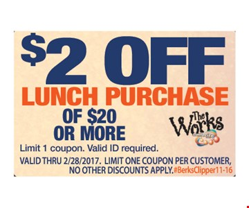 $2 off lunch purchase of $20 or more. Limit 1 coupon. Valid ID required. Expires 2/28/17.