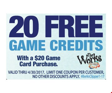 20 free game credits with a $20 game card purchase. Valid thru 4/30/17. Limit one coupon per customer. No other discounts apply. #BerksClipper 1-17
