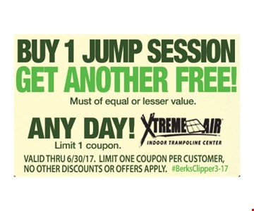 Buy 1 Jump Session Get Another Free!