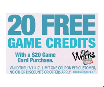 20 Free Game Credits with a $20 game card purchase