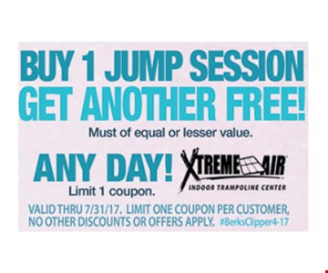 Free Jump Session. Buy 1 jump session, get another free.