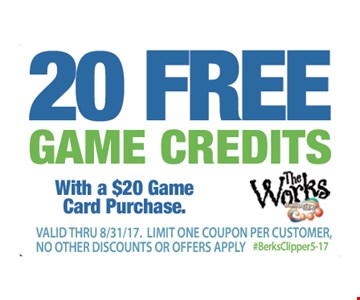 20 free game credits with a $20 game card purchase. Exp. 8-31-17.