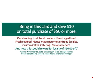 Save $10 on total purchase of $50 or more