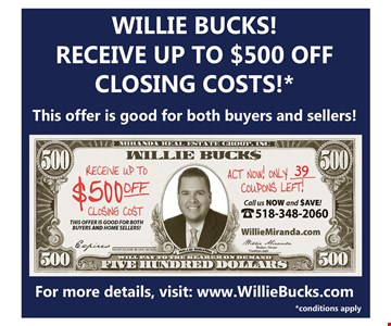 Receive up to $500 off closing costs