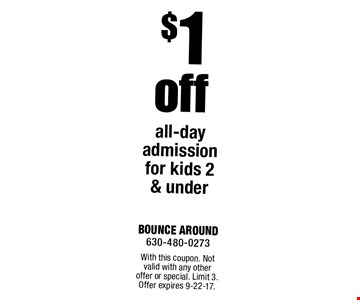 $1 off all-day admission for kids 2 & under. With this coupon. Not valid with any other offer or special. Limit 3. Offer expires 9-22-17.