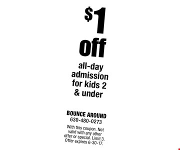 $1 off all-day admission for kids 2 & under. With this coupon. Not valid with any other offer or special. Limit 3. Offer expires 6-30-17.