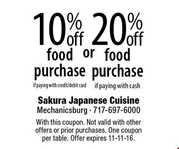 10% food purchase if paying with credit/debit card. 20% food purchase if paying with cash. With this coupon. Not valid with other offers or prior purchases. One coupon per table. Offer expires 11-11-16.