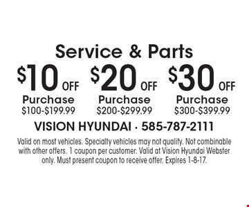 Service & Parts $10 OFF Purchase $100-$199.99. $20 OFF Purchase $200-$299.99. $30 OFF Purchase $300-$399.99. Valid on most vehicles. Specialty vehicles may not qualify. Not combinable with other offers. 1 coupon per customer. Valid at Vision Hyundai Webster only. Must present coupon to receive offer. Expires 1-8-17.