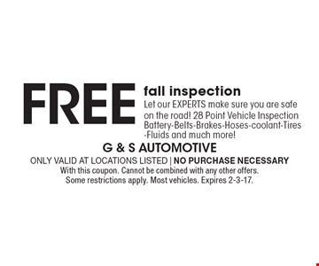 Free winter inspection-Let our EXPERTS make sure you are safe on the road! 28 Point Vehicle Inspection Battery-Belts-Brakes-Hoses-coolant-Tires -Fluids and much more! . Only valid at locations listed | No purchase necessary.With this coupon. Cannot be combined with any other offers. Some restrictions apply. Most vehicles. Expires 2-3-17.