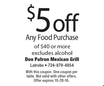 $5 off Any Food Purchase of $40 or more. Excludes alcohol. With this coupon. One coupon per table. Not valid with other offers. Offer expires 10-28-16.
