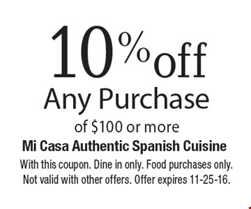 10% off any purchase of $100 or more. With this coupon. Dine in only. Food purchases only. Not valid with other offers. Offer expires 11-25-16.