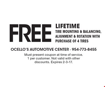 Free LIfetime Tire Mounting & Balancing, alignment & Rotation with Purchase of 4 tires. Must present coupon at time of service.1 per customer. Not valid with other discounts. Expires 2-3-17.