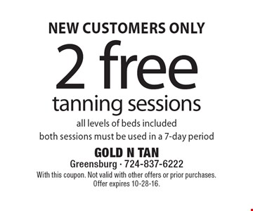 New customers only. 2 free tanning sessions. All levels of beds included. Both sessions must be used in a 7-day period. With this coupon. Not valid with other offers or prior purchases. Offer expires 10-28-16.