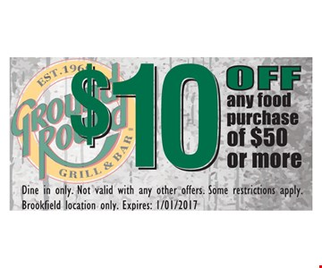 $10 off any food purchase of $50 or more