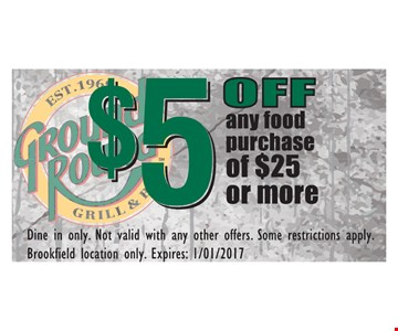 $5 off nay food purchase of $25 or more