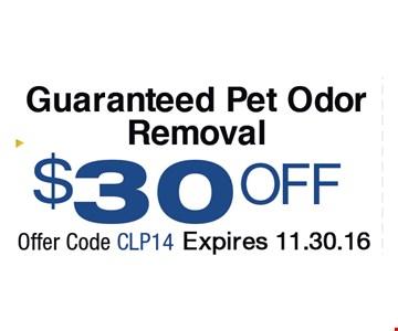 Guaranteed Pet Odor Removal $30 Off