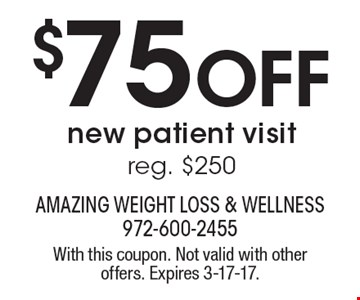 $75 OFF new patient visit. Reg. $250. With this coupon. Not valid with other offers. Expires 3-17-17.