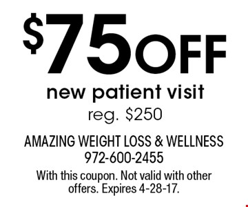 $75 off new patient visit. Reg. $250. With this coupon. Not valid with other offers. Expires 4-28-17.