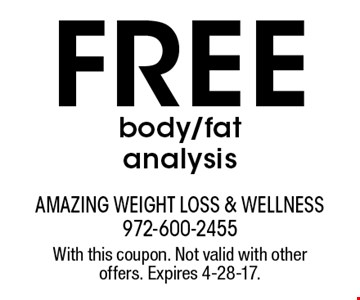 Free body/fat analysis. With this coupon. Not valid with other offers. Expires 4-28-17.