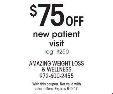 $75 OFF new patient visit. Reg. $250. With this coupon. Not valid with other offers. Expires 6-9-17.