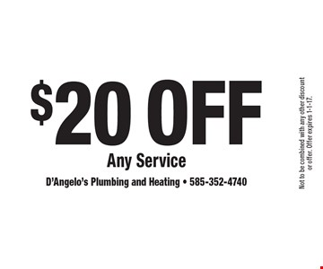 $20 Off Any Service. Not to be combined with any other discount or offer. Offer expires 1-1-17.