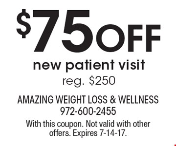 $75 OFF new patient visit. Reg. $250. With this coupon. Not valid with other offers. Expires 7-14-17.