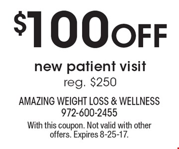$100 OFF new patient visit reg. $250. With this coupon. Not valid with other offers. Expires 8-25-17.