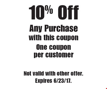 10% Off Any Purchase. With this coupon. One coupon per customer. Not valid with other offer. Expires 6/23/17.