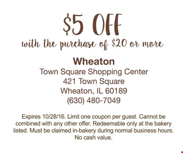 $5 off with purchase of $20 or more